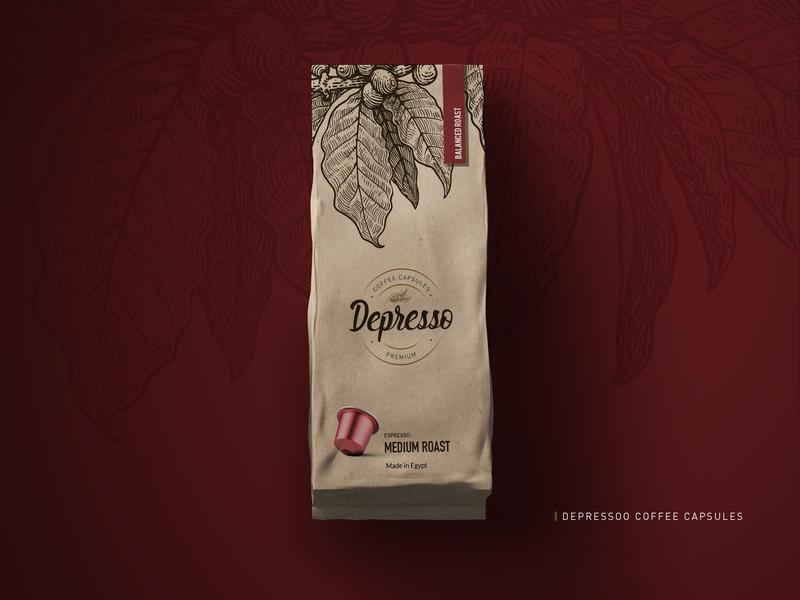 Depressoo Coffee Capsules brown red capsules coffee