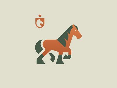 Draft Horse nature logotype animal geometric logo emblem crest identity design mark copper grids process horse