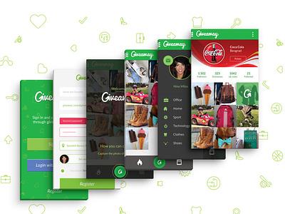 Giveaway App Android hackaton hackathon webflow giveaway green design logo app belgrade serbia ux ui