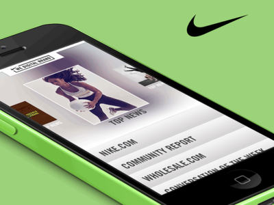 Nike Carousel News App brand sport carousel green design ux newsletter news digital ui app nike
