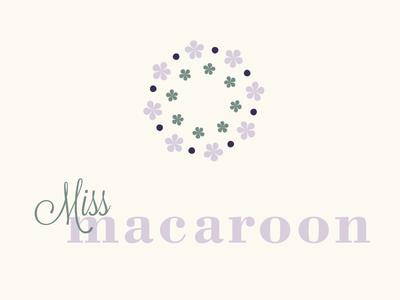 Miss Macaroon Logo Design logo purple flowers pattern romance branding clean design flat romantic