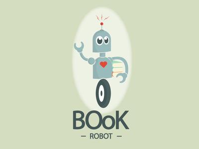 BOok Robot Logo logo green robot character tecnological book heart radio signal