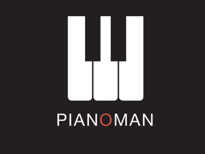 Pianoman Logo piano keyboard keys jazz music live logo design black orange