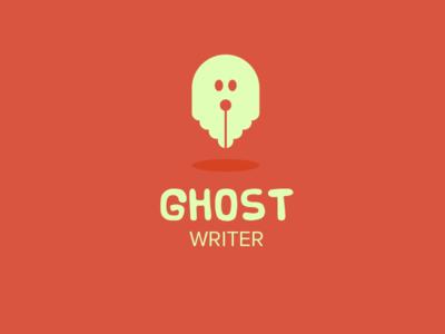 Ghost Writer Logo ghost write writer logo red white simple pen pencil