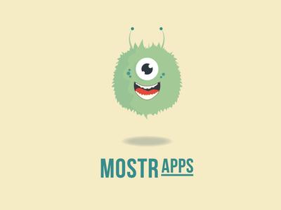 Monstr Apps Logo monster monsters eye green hair logo app