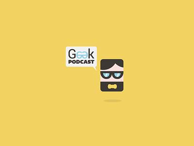 Geek Podcast Logo geek nerd podcast rss feed geeky logo yellow glasses bowtie