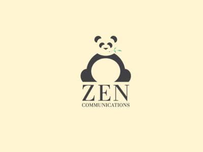 Zen Communications Logo panda bamboo zen communication logo black clean bear