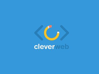 Cleverweb Logo logo blue pencil flat eraser clever web design agency