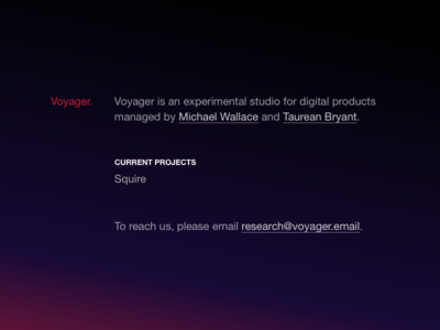 Voyager Placeholder page helvetica voyager css animations