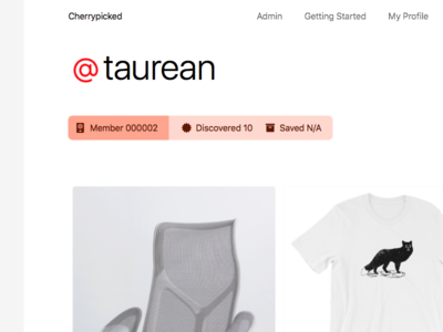 User Profile Page profile ecommerce cherrypicked