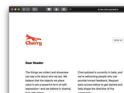Cherrypicked: Dear Reader Landing Page landing page web design cherrypicked