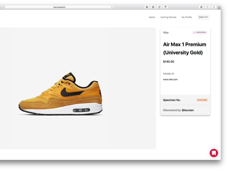 Cherrypicked Product Page ui design sneakers nike ecommerce cherrypicked