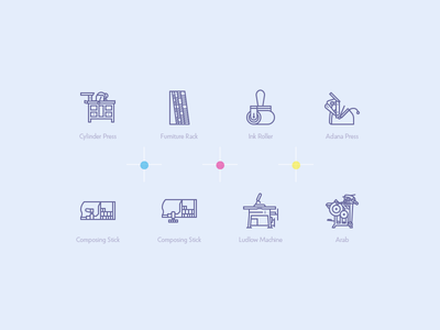 Print machines icons design pixel perfect vector icons machines press printing print