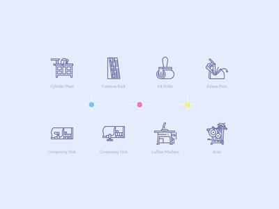 Print machines icons