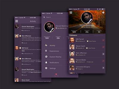 Experience Sharing App interface app ui memories profile menu mobile activity