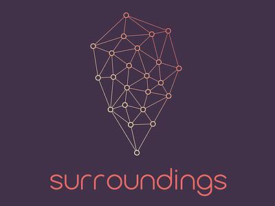 Surroundings location identity logo icon pin branding typography logomark
