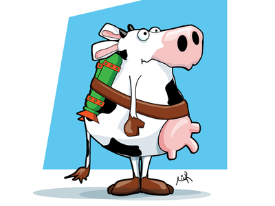 Cows with jetpacks Are funny animation design illustration