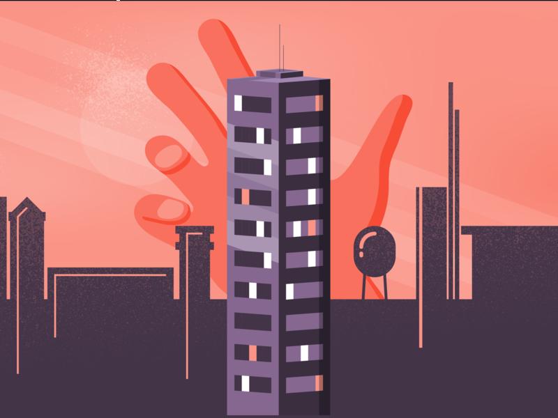 The Hand skyline silhoutte skyscraper urban horror hand city