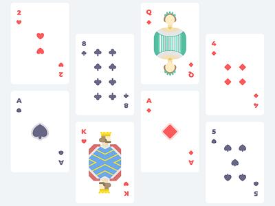 Minimalist Deck - Poker Playing Cards vector spades queen print playing cards play minimal man king joker illustration hearts flat design diamonds deck crown clubs cards card design ace