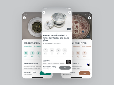 Steeped · Product Page (Rebound) tea app mobile product shop buy ecommerce drink typography mobile app ui ux app design clean ios bottom sheet reviews rating