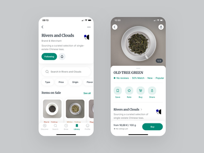 Steeped · Brand & Merchant Profile seller profile merchant brand bottom sheet ios clean app design ux ui mobile app typography drink ecommerce buy shop product mobile app tea
