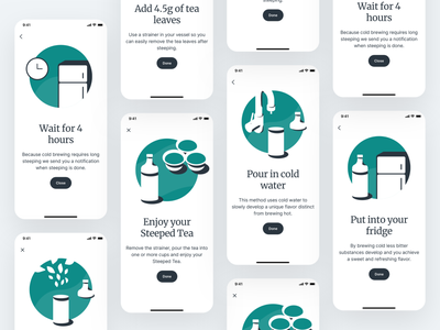 Steeped · Cold Brew Instructions illustration onboarding instructions brewing tea app mobile drink typography mobile app ui ux app design clean ios