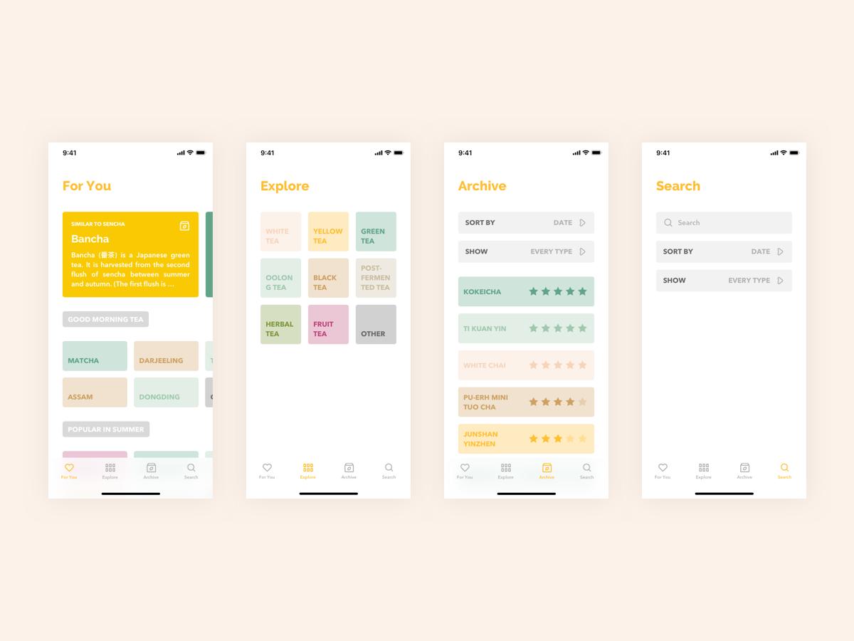 Steeped App - Tabs tab bar search rating cards clean ux design ux ui design ui tea mobile app app design