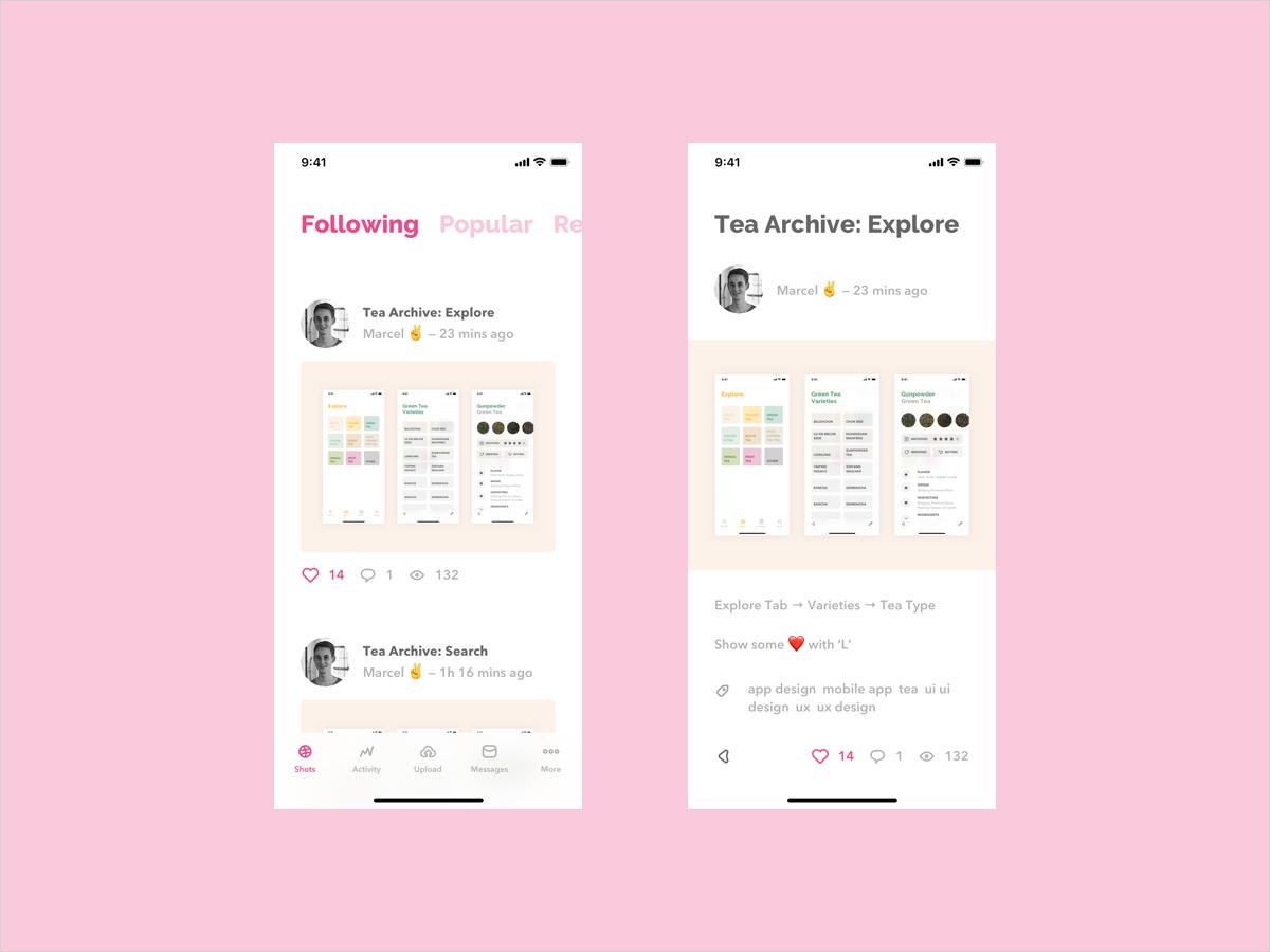 Dribbble App Redesign redesign dribbble app app design clean concept design interface ios minimal mobile app ui ux