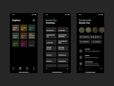 Explore Tea (Dark Mode) product design mobile design app typography minimal clean concept daily dark theme dark mode dark ui app design mobile app tea ui ux ui design ux design