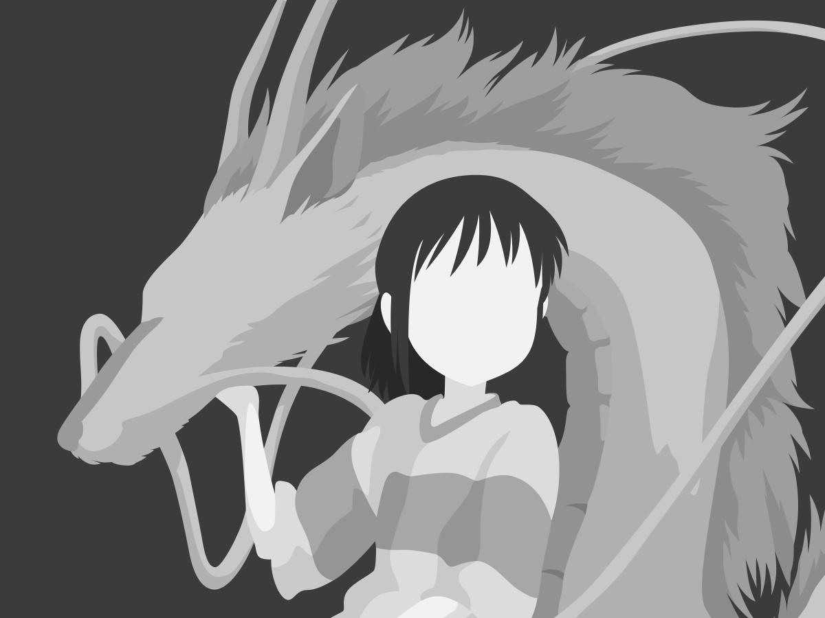 Spirited Away Illustration haku chihiro grayscale movie digital art manga spirited away dragon anime character black and white art flat vector minimal illustration