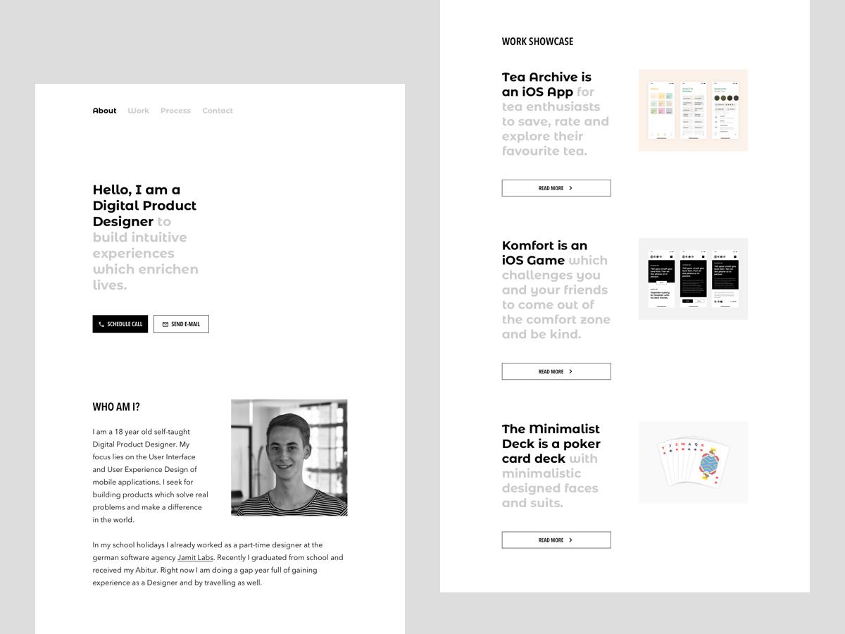 Personal Website / Portfolio minimal web app ui ux typography product design black and white web design homepage personal website website personal portfolio