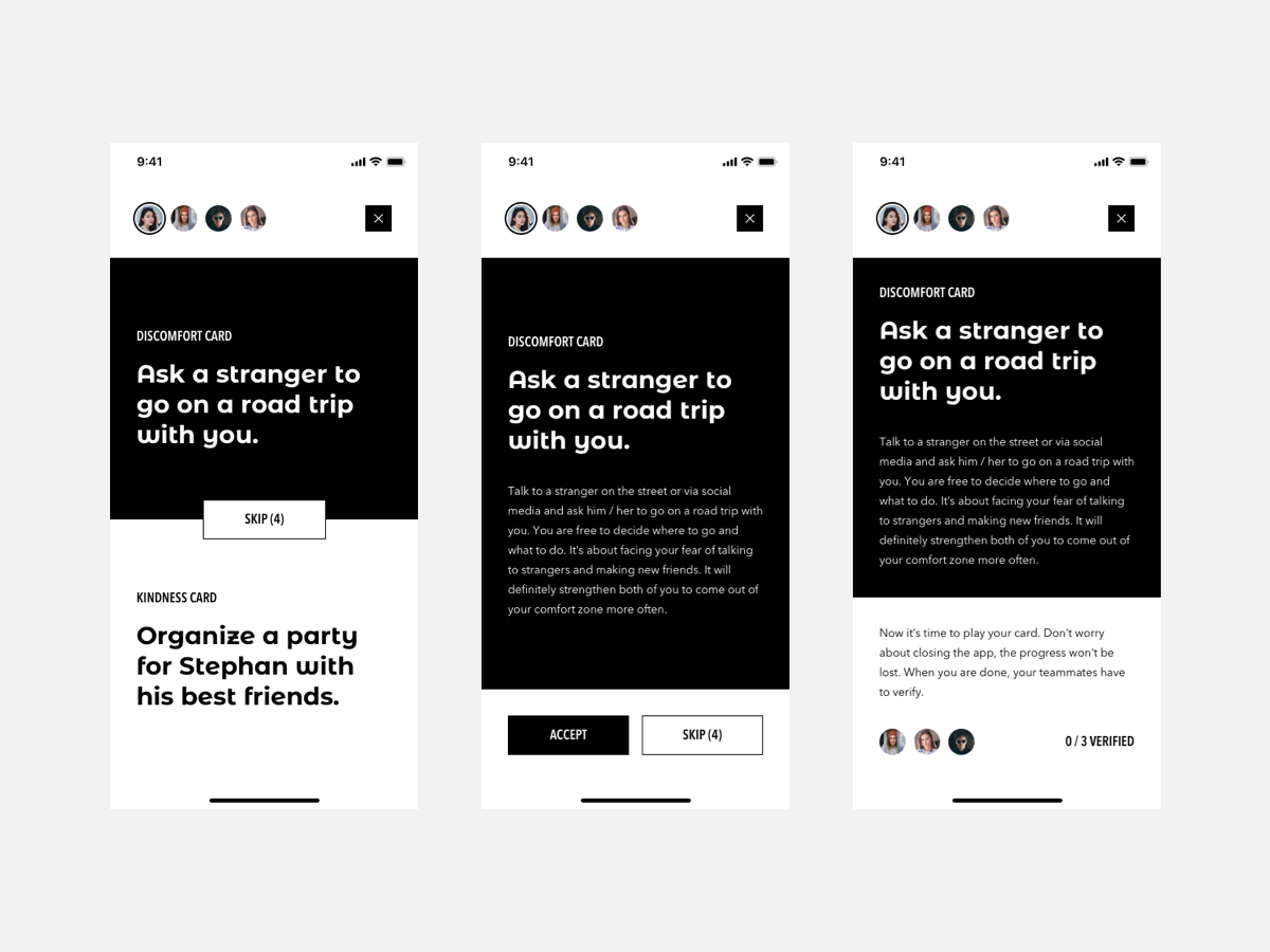 """""""Discomfort or Kindness"""" Game kindness discomfort product design mobile interface ios game daily cards card black and white black app design minimal flat app ux typography ui design"""