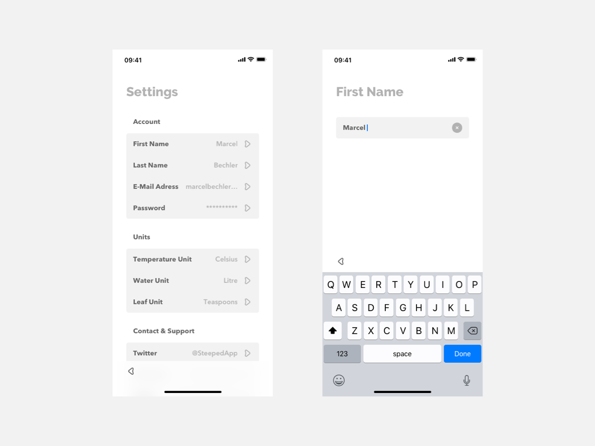 App Settings e-mail password support contact account settings ux design ui design modern mobile app mobile grey app design ios minimal app ux typography ui design