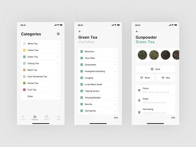 Steeped App - Explore Tea interface concept clean ui design categories ux design modern tea mobile app mobile app design ios flat minimal app ux ui design