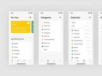 Steeped App - Tabs mobile design design clean app design tea minimal ux ui mobile app app