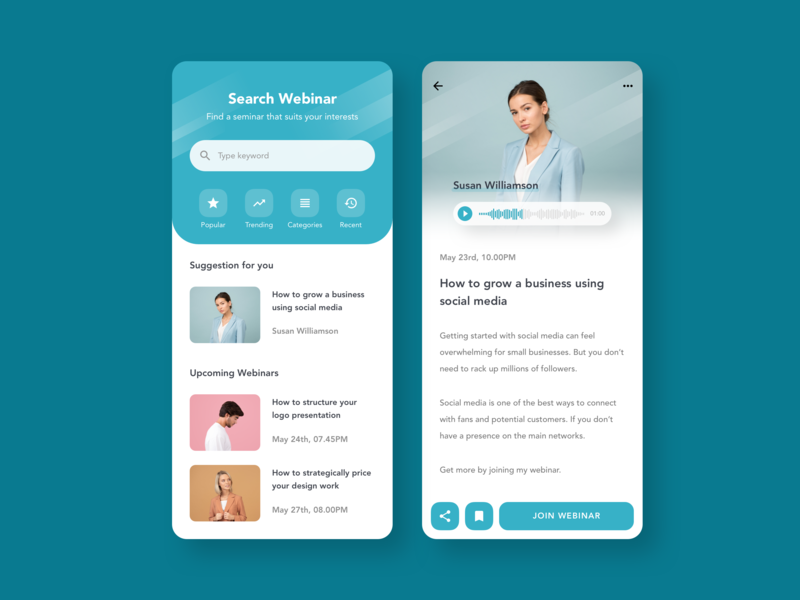 Webinar app concept webinar app designer app design typography minimal sketch app ux ui flat design app