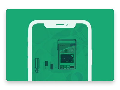 Assemble with Care and the joy of fixing things illustration mockup iphone walkman sony tape player game assemble with care ustwo