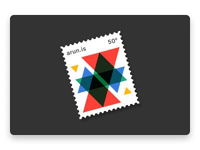 The arun.is newsletter letter stamp screenprint overprint multiply green blue yellow red triangles geometric mondernist illustration