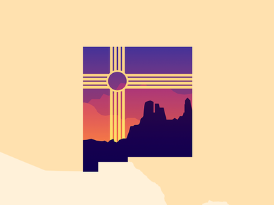 Land of Enchantment sunset state illustration new mexico