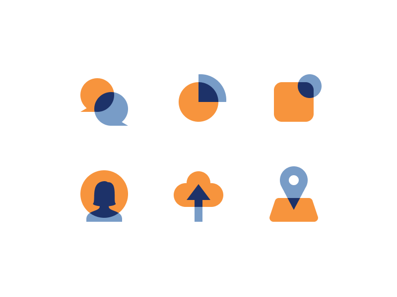 overprint icon exploration pin map upload user notification pie chart chat blue orange iconset icons overprint