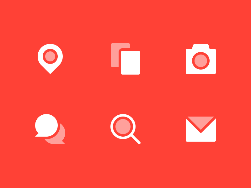 Icon Variation 2 - Dual Opacity bubbles chat map pin pin magnifying glass mail card camera line icon icons