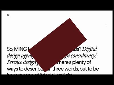 MING website —details video tags menu brutalism abstract website web webgl animation typography