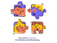Save your loved ones ❤️ brucira graphic vector donate people boy socialdistancing coronavirus covid19 designer puzzle logo web girl ux design ui illustration