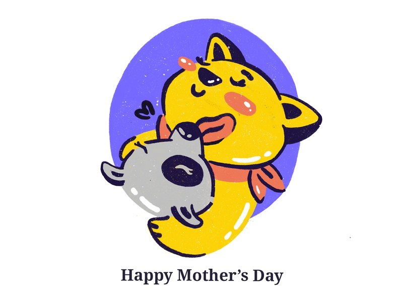 happy mother's day <3 mothersday mother icon hug love care cute motherhood pet care annimal pet vector mobile ux design ui illustration
