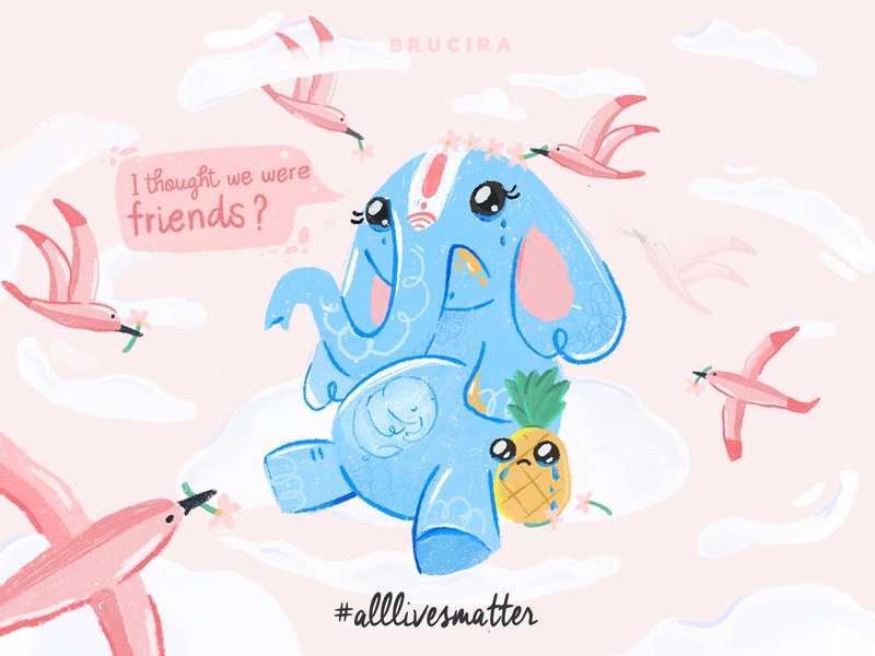 all lives matter brucira alllivesmatter humanity web flowers baby rip peace clouds pink pineapple elephant mobile icon ux design ui illustration
