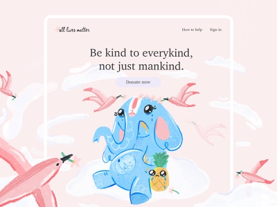 all lives matter graphic landing landing page india wildlife ngo elephant pinapple animal webdesign website app vector web ux design ui illustration