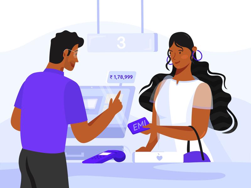Buy anything on EMI apple shopping mumbai india women emi bank boy vector web girl design ux ui illustration