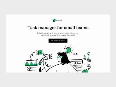 Brutask landing Page app mobile list todolist task manager task todo web girl icon ux ui design illustration