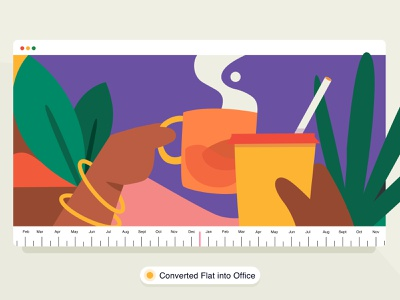 The One With The Apartment 🏠 brucira web design journey concept home website colours leaf hand mug coffee plants office vector web girl icon design ui illustration
