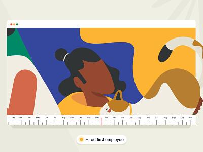 The First Employee boy 👦 employee brucira animal pet minimal plant mobile web girl vector graphic office hoodie cat man boy design ui illustration